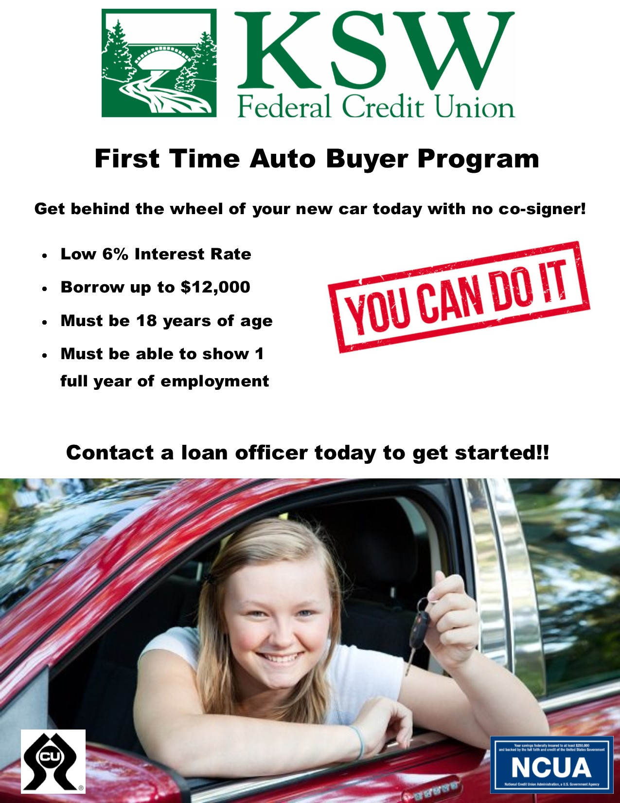 First Time Car Buyer Loan >> Lending Ksw Federal Credit Union